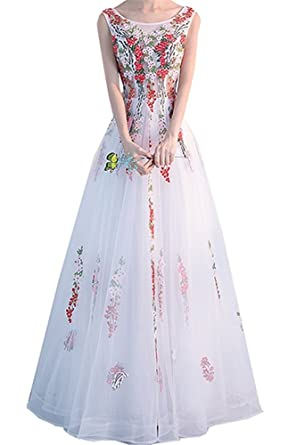 Hatail Floral Applique Prom Dress Long Lace A-line Evening Party Gown for Women -