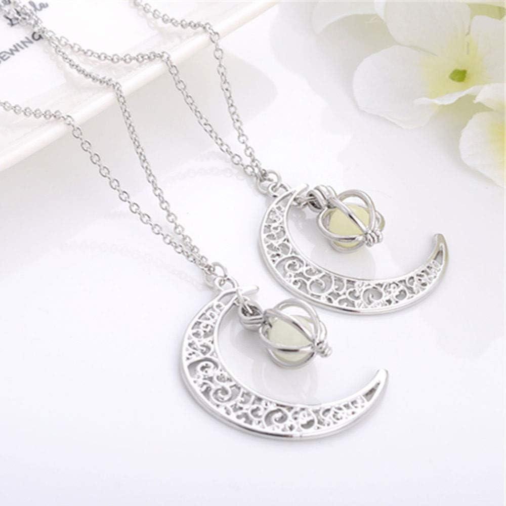 Cewtolkar Women Jewelry Girlfriend Chain Moon Necklace Luminous Pendant Party Chain Birthday Necklace Gift Pendant