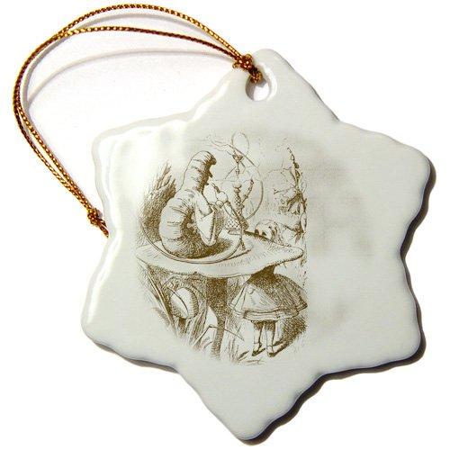 3dRose orn_110199_1 Caterpillar on Mushroom Vintage Alice in Wonderland-Snowflake Ornament, Porcelain, 3-Inch