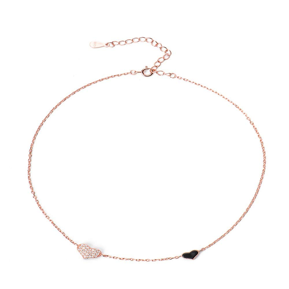 Dana Carrie Women jewelry Sterling Silver Necklace Womens Simple Short Clavicle Chain Double Love Necklace