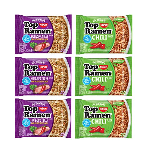 Nissin Top Ramen Noodles Chili Flavor and Hot & Spicy Beef - 3 of Each Flavor (6 Count)