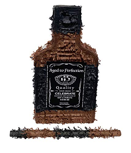 Whiskey Bottle Pinata with Stick - Perfect for Adults Party Decorations, Centerpiece, Photo Prop, Birthday, Funny Anniversary, 21 birthday - Fits candy/favors: by Get a pinata]()