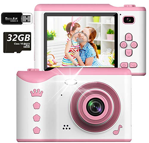 """Micoo Kids Camera for Girls or Boys Age 3-12, 8 Mega Pixel Digital Dual Camera Rechargeable Children Camcorder with 2.8"""" Touch Screen, 4X Digital Zoom with Card Reader and 32GB Memory Card"""