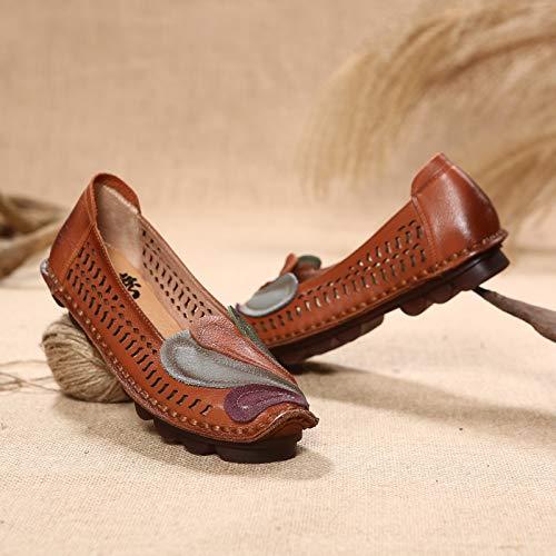 de Respirant ZHRUI Kaki Flats coloré Femmes Taille sur Cuir EU Phoenix Mocassins Noir 39 Couture en évider H5q5rz1x