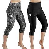 KIKOY Women Casual High Waist Out Pocket Sports Gym Yoga Leggings Athletic Pants Black