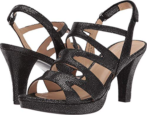 Pebbled Iridescent Black Con Plataforma Mujeres Naturalizer Leather Sandalias Talla q10ypY