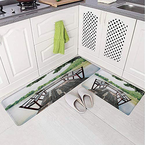 - 2 Piece Non-Slip Kitchen Mat Rug Set Doormat 3D Print,on The Riverside Romantic Calming in Woods Image,Bedroom Living Room Coffee Table Household Skin Care Carpet Window Mat,