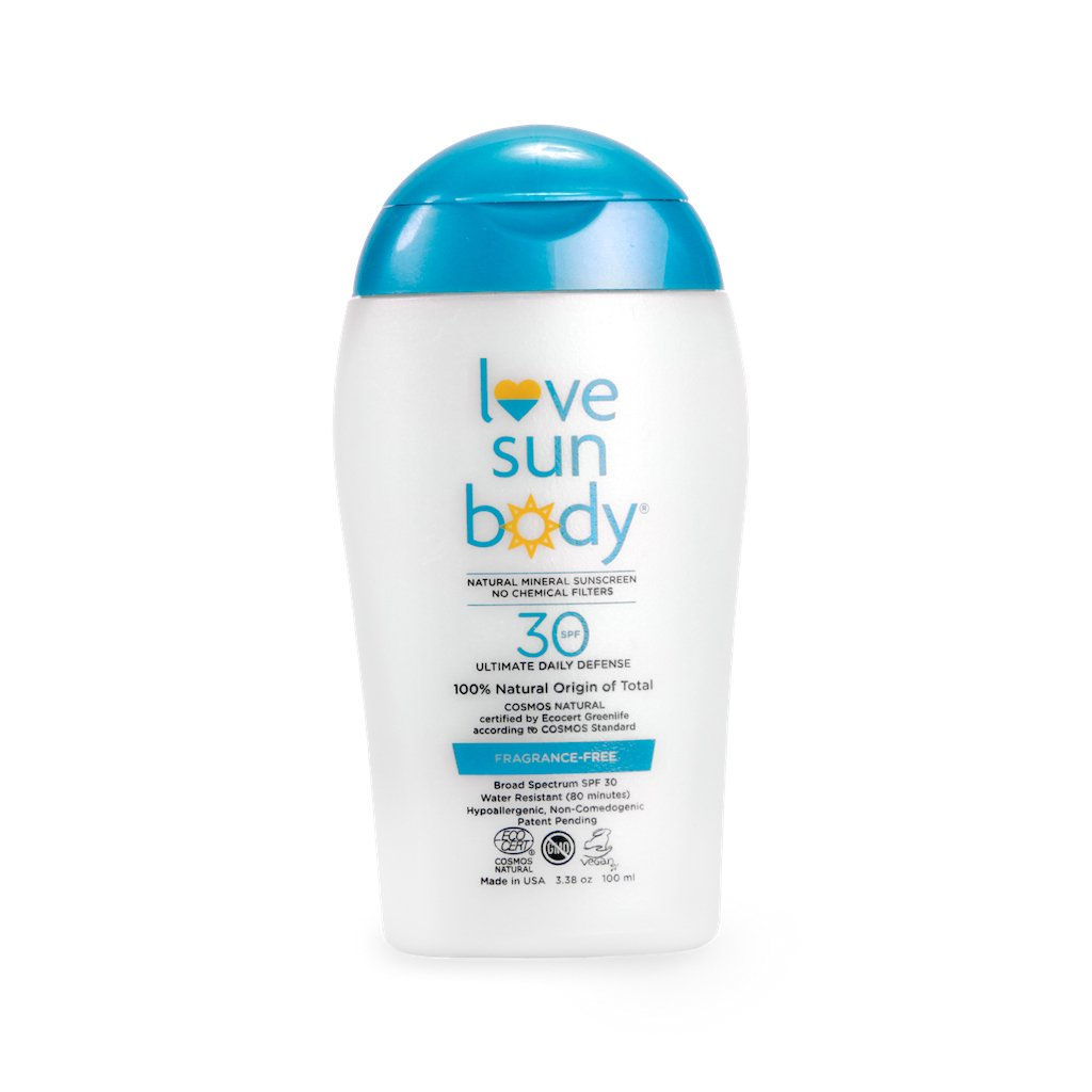 Love Sun Body 100% Natural Origin Mineral Sunscreen SPF 30 Fragrance-Free 3.38 oz - 100 ml Cosmos Natural