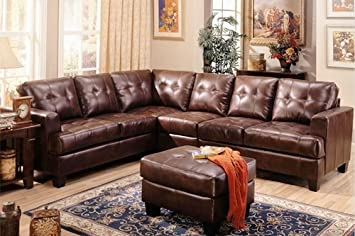 Samuel Sectional by Coaster Furniture(Ottoman sold separately) : amazon leather sectional - Sectionals, Sofas & Couches