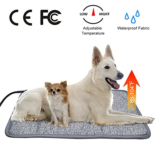 Vinwer Electric Pet Heating Pad Waterproof Kennel Heated Pad Adjustable Warming Mat with Chew Resistant Steel Cord for Dogs Cats Rabbit (L:29.7