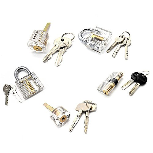 5Pcs Locks Transparent Visible Cutaway Practice Kit Padlock Door Lock Pick Training Skill For Locksmith Beginner