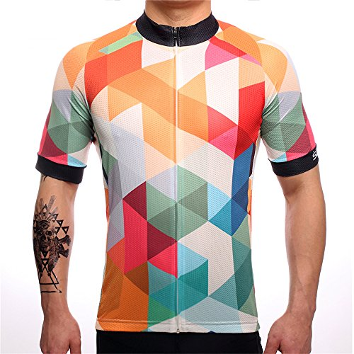 SUREA Quick Dry Summer MTB Cycling Jersey for Men Short Sleeve Clothes Breathable Bike Clothing Yellow ()