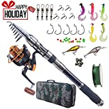 Cheap Fishing Rod and Reel Combo Carbon Fiber Telescopic Spinning Portable Fishing Pole Fishing Gear with Line Lure Hooks Fishing Bag for Sea Saltwater Freshwater Boat Fishing