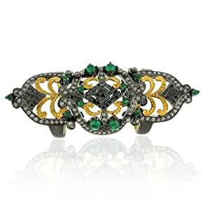 18kt Gold Diamond Pave Emerald Knuckle Armor Ring Silver Vintage Style Jewelry