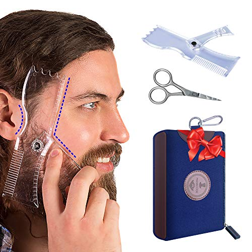 Manecode Beard Shaping Tool - Grooming Kit for Men - Lineup Guide, Shaper Template, Scissors and Amoora Wood Comb in a Waterproof Hygiene Travel Bag (Beard Trimmer Accessories)