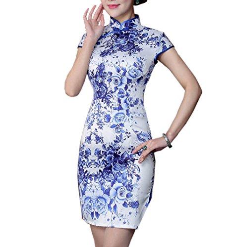 Femme Blumen Robe Crayon Blaue 2 Large Acvip qS4FP