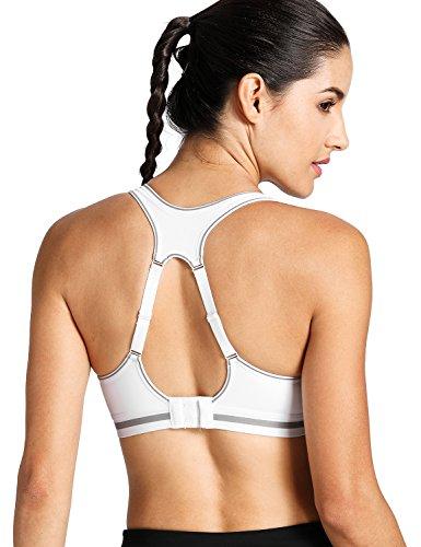 SYROKAN Women's Run Bra High Impact Sports Bra Quick Dry Max Support White (High Impact Padding)