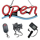 Remote Controlled LED Neon Open Sign - Wavy Line Shape, 9x22'' Size, Red - Blue Color (#3277)