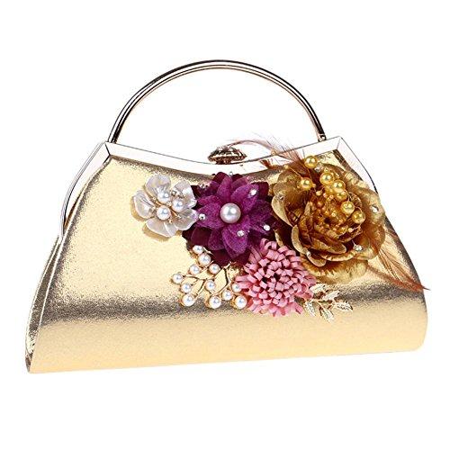 NVBAO De las mujeres Cristales Flores Perla Bolsas de noche Boda Cena Fiesta Bolso, 23.5 X 17.5 X 5.5cm, gold, one size gold