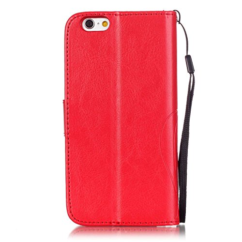 SRY-Bolsa para teléfono móvil Con ranura para tarjetas, cordón, presión Hermoso patrón de moda abrir el teléfono celular Shell para Apple IPhone 7 ( Color : Rose , Size : IPhone 7 ) Red