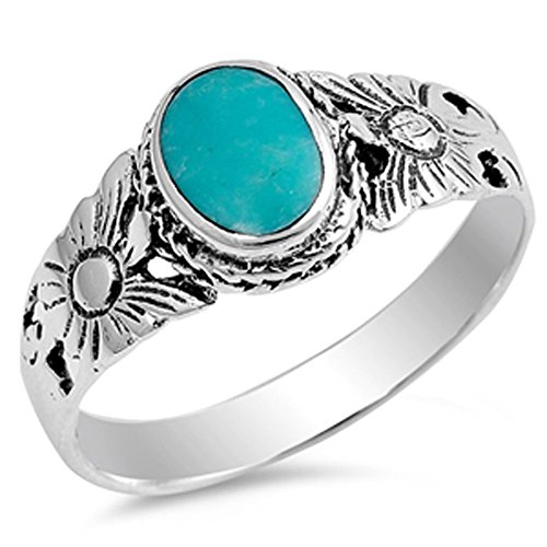 Flower Simulated Turquoise Fashion Bali Ring New .925 Sterling Silver Band Size 8 ()