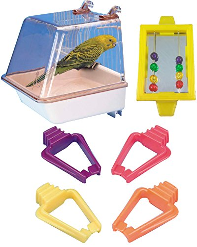 Penn Plax Bird Bath with Universal Clips, Bird Mirror With Beads Toy, & 4-Pack Universal Clips for Bird Cage Bundle