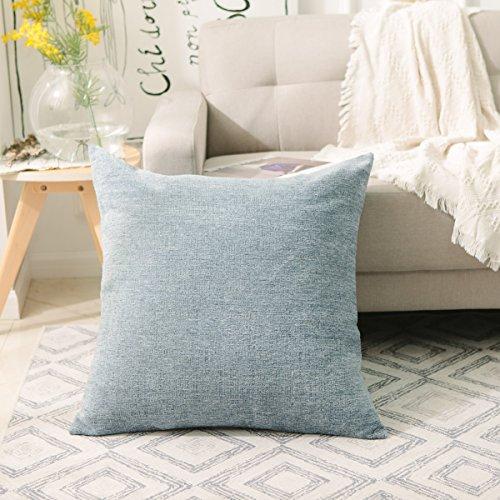 HOME BRILLIANT Super Soft Striped Plush Chenille Velvet Euro Throw Pillow Sham Cushion Cover for Bench, 26 x 26 inch (66cm), Jeans Blue