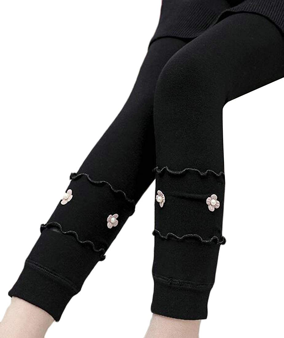 Cromoncent Girls Pull On Fleece Wool Lined Seamless Ruffled Tight Stretchy Leggings