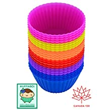 Premium Grade Silicone Baking Cups, [24 Pack] MuffinBOI by XNM Creations, Proudly Canadian, Reusable Silicone Bakeware for Cupcake Liners Molds, Muffin Liners Molds Sets, Silicone Molds, BPA Free and FDA Approved, 6 Colours, Heat Resistant up to 233℃/ 450℉