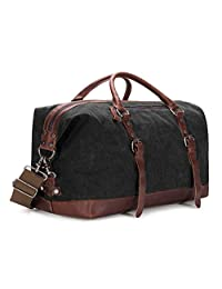 BAOSHA HB-14 Oversized Canvas Weekender Bag Travel Carry On Duffel Tote Bags Weekend Overnight Travel Bag Unisex Travel Holdall Handbag (Black)