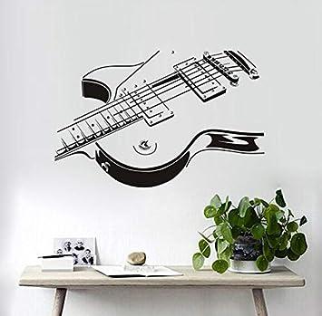 xlei Etiqueta De La Pared De La Guitarra Eléctrica Etiqueta De La Pared 3D PVC Creativo De La Guitarra Pegatinas De Pared Sala De Estar El Dormitorio Decora ...