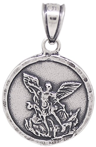 Stamped Medallion (Saint Michael Sterling Silver Round Pendant Medallion Oxidized Made in USA)