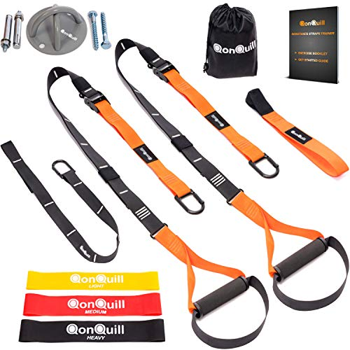 Resistance Straps Trainer Bundle | Complete BodyWeight Training Straps Kit  Wall Mount Bracket  3 Exercise Loop Bands | Five Anchoring Solutions with Easy Setup for Home Gym amp Outdoors Workouts