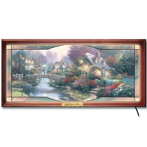 The Bradford Exchange Thomas Kinkade Garden of Light Collectible Stained Glass Wall Decor (Cottage Kinkade Print Thomas Christmas)