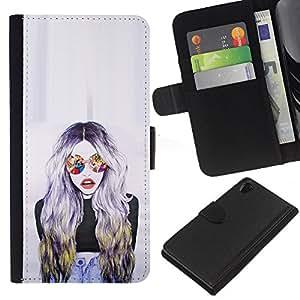 Gafas de sol Mujer Diseño Arte- la tarjeta de Crédito Slots PU Funda de cuero Monedero caso cubierta de piel Para Sony Xperia Z2 D6502