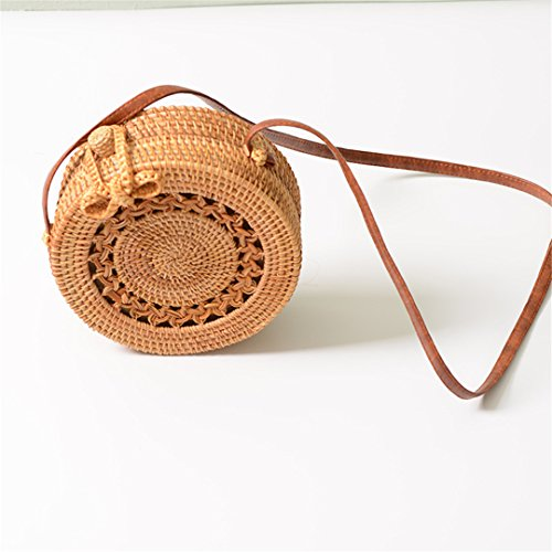 Shoulder Crossbody Bolsos Bohemia Knitted Rattan Bag Handmade Circle Bags Straw Woven Bowknot Round Beach Mujo Bobomimi Udzn1wPqz