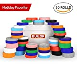 Toy Building Block Tape, Fun Pack of Reusable Self Adhesive Block Tape Rolls for Kids :: Cut, Peel, Stick & Create Anywhere : Compatible with KRE-O, Mega Bloks, DUPLO, & Lego Bricks (50 Rolls)