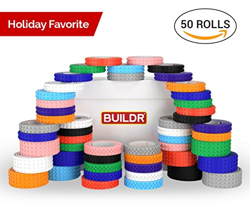 Toy Building Block Tape, Fun Pack of Reusable Self Adhesive Block Tape Rolls for Kids :: Cut, Peel, Stick & Create Anywhere : Compatible with KRE-O, Mega Bloks, DUPLO, & Lego Bricks (50 Rolls) by Buildr Toys