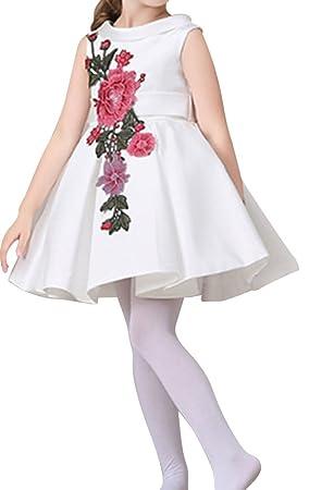 Fiesta De Cumpleaños Vestidos De Niña Flor Para Boda Princesa Vestido - Blanco - 120CM-