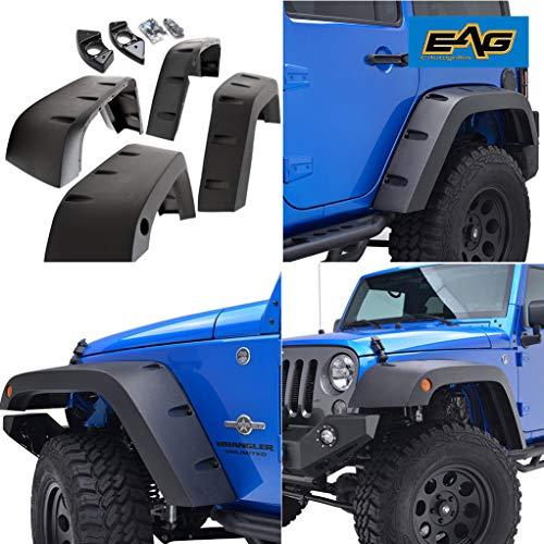(EAG Front + Rear Fender Flares Wheel Cover Pocket Rivet Style Fit for 07-18 Jeep Wrangler JK)