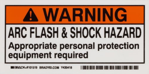 "Brady 101519 2"" Height, 4"" Width, B-302 High Performance Polyester, Black And Orange On White Color Arc Flash And Shock Label (Pack Of 10)"