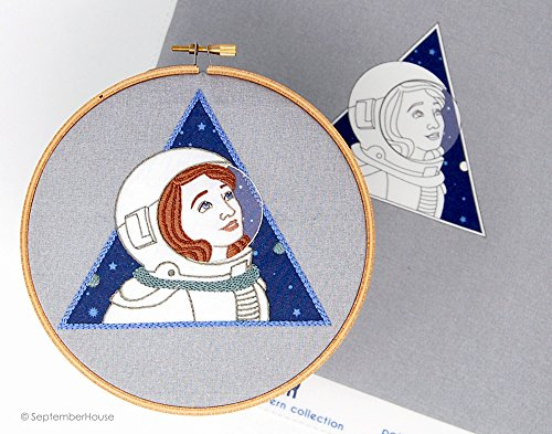 - Astronaut Modern Embroidery Kit, Astronaut embroidery Pattern Panel Pre-printed fabric for hand embroidery, Solar Flair Pattern Collection