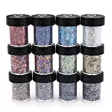 Polyester Mixed Glitter 12 Piece Kit - Includes Solvent Resistant Dust, Powder, Hexagon, Holographic, Glitters - Great for Nail Art Polish, Gels, Acrylics Supplies, Art and Crafts, - (1/2 Oz Jars)