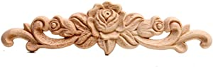 Beoot Wood Carved Applique Onlay Unpainted Corner Onlay Applique Door Cabinet Rose Unpainted European Style (40cm x 10cm)