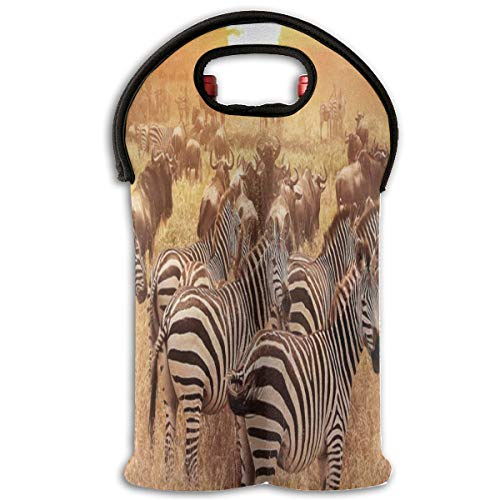Wine Bag Zebras Of The African Steppe 2 Bottle Red Wine Tote Bag Protective Water Travel ()