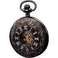 [Patrocinado] KS Esqueleto Dial clásico colgante de acero unisex mecánico Fob Reloj de bolsillo + cadena ksp004