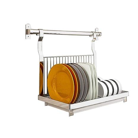 Dish drainer rack Plato escurreplatos Cocina de Pared montado en Acero Inoxidable Plegable cubertería Secadora