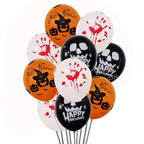 - LONG7INES 50-Pack Halloween Balloons, Haunted Asylum Halloween Hand Blood Splatter Skeleton Pumpkin Spider Web Latex Balloons for Halloween Party Decor, 12Inch
