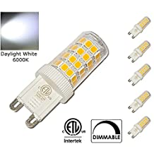 5 Pack DIMMABLE G9 LED Light Bulbs, 3.5W=40W, Daylight White 6000K, cETLus Listed. Small Size, Super Bright, 360 Degree Beam Angle, Perfect for Crystal Chandeliers