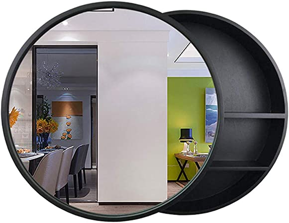 Bathroom Mirror Round Cabinet Bathroom Wall Storage Cabinet Sliding Mirror Medicine Cabinet With Steel Gliding Stainless Wooden Frame 3 Level Amazon Co Uk Kitchen Home